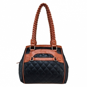 Concealed Carry Braided Tote Black with Brown Trim