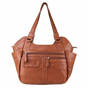 Concealed Concealed Carry Hobo Bag Brown, Large